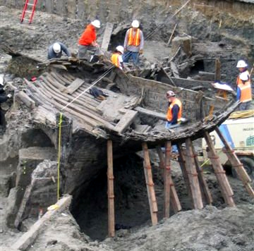 A view of the stern of Candace during excavation. William Self Assoc. Inc.