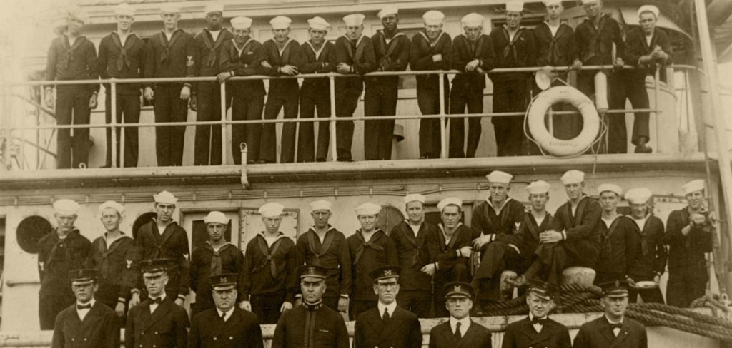 The officers and crew of USS Conestoga, in San Diego, California in 1921. Lost for 95 years, the tug was discovered in the Greater Farallones National Marine Sanctuary off San Francisco. Credit: Naval Historical Center Photograph NH 71503