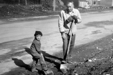 Future archaeologist at work: Jim digs in with his first shovel with his grandfather Frank in Federal Way, Washington in 1962. He began his career as an archaeologist just ten years later!