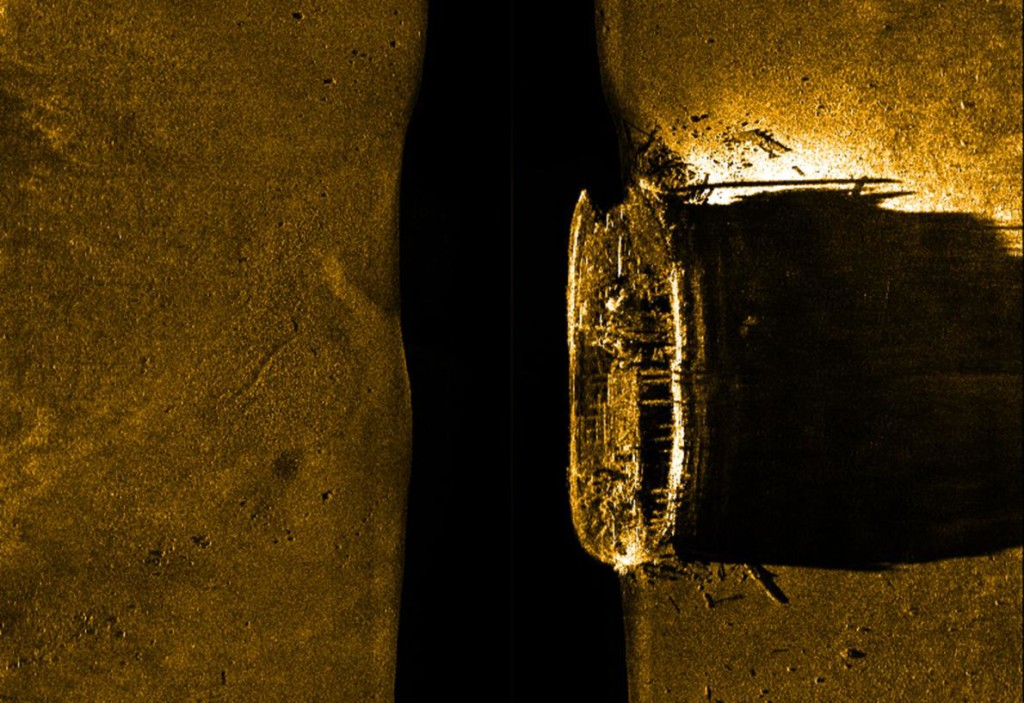 Sonar reveals the mostly intact remains of H.M.S. Erebus, one of two vessels from Sir John Franklin's expedition that became icebound in 1846. The second ship, H.M.S. Terror, has yet to be found. PHOTOGRAPH BY PARKS CANADA, EPA