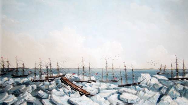 """This detail of """"Abandonment of the Whalers In The Arctic Ocean September 1871"""" depicts several of the ships involved in the near-disaster. Wainwright Inlet is in the background. (Ted and Ellie Congdon/Huntington Library)"""