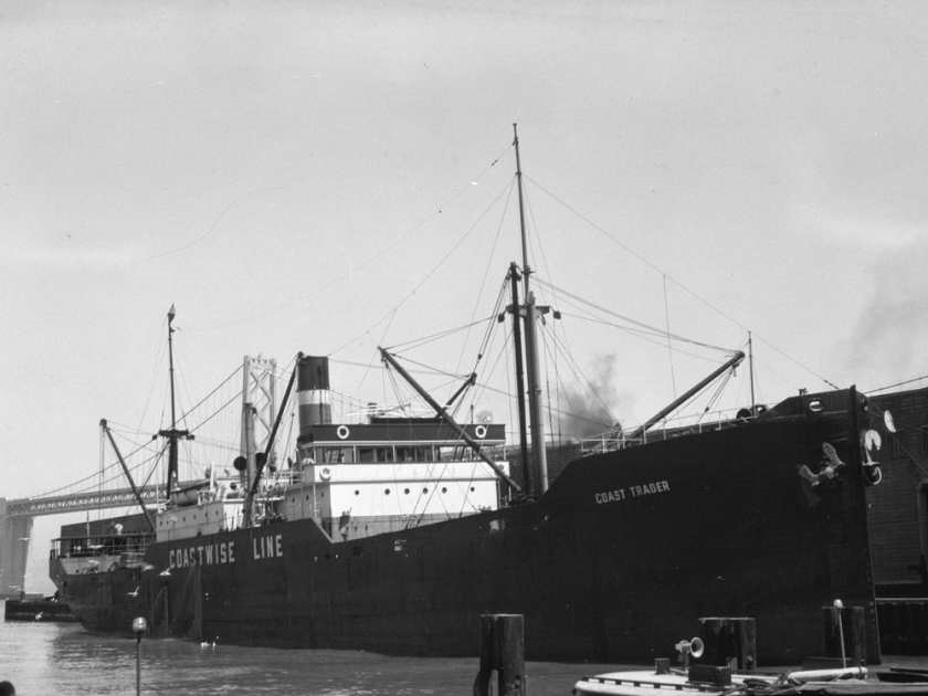 Built in 1920, the Coast Trader is pictured in San Francisco in 1937; it became the second merchant ship to be sunk off the continental coast when a Japanese submarine, I-26, torpedoed it between B.C. and Washington. Researchers now say the ship is in Canadian waters. [San Francisco Maritime Research Center] Source: Vancouver Maritime Museum, San Francisco Maritime National Historic Park. [PNG Merlin Archive] / PNG